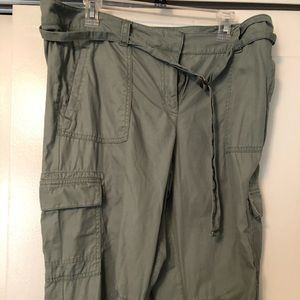 Ladies olive green cargo joggers